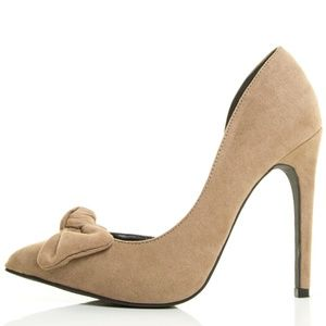 Valerie Taupe Faux Suede D'Orsay Bow Pump